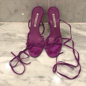 Manolo Blahnik vintage suede lace up sandals